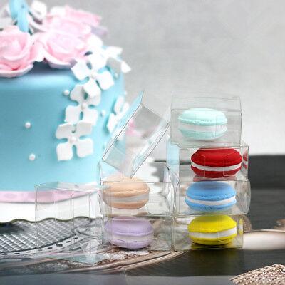 50*CLEAR 5x2.5x5cm Bomboniere Box Macaron Wedding Favour Gift Boxes PVC Acetate