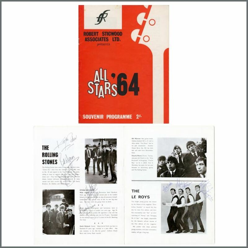 Rolling Stones All Stars '64 Programme Signed By All Artists Wyman Archive (UK)