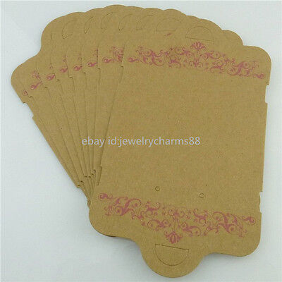 18378 50x Brown Paper Necklace Earring Jewelry Display Packaging Hanging Card