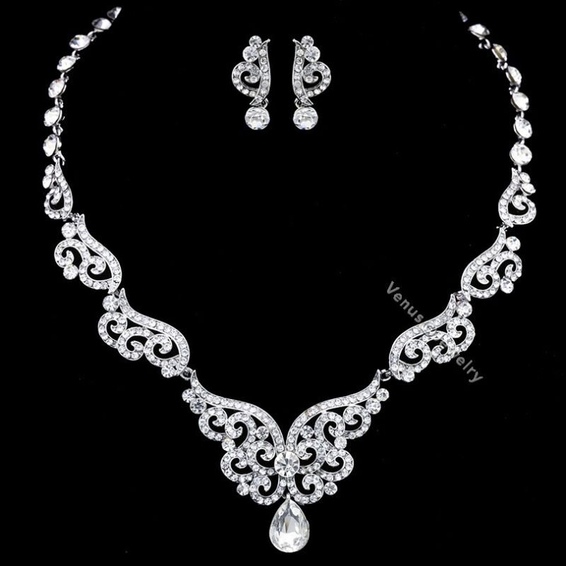 Gorgeous Bridal Wedding Prom Rhinestones Crystal Necklace Earrings Set N337