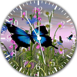 Beautiful Butterfly Flowers Frameless Borderless Wall Clock Gifts or Decor Y98