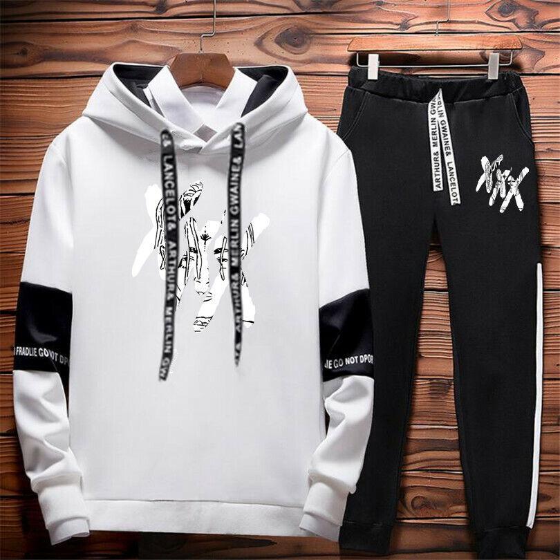 XXXtentacion Hip Hop Suit Rips Hoodie Sweater Sweatshirt Pullover w/Sports Pant Activewear