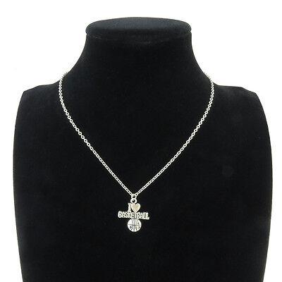 7-1 Silver Alloy I Love Basketball Sport Pendant Short Chain Collar Necklace 18