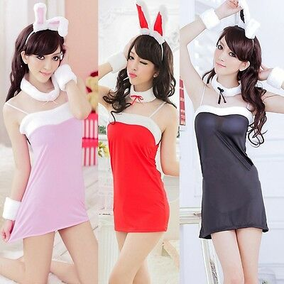 Hot Sexy Super Cute Bunny Girl Lingerie Role Play Costume Christmas Dress Skirt](Super Bunny Costume)