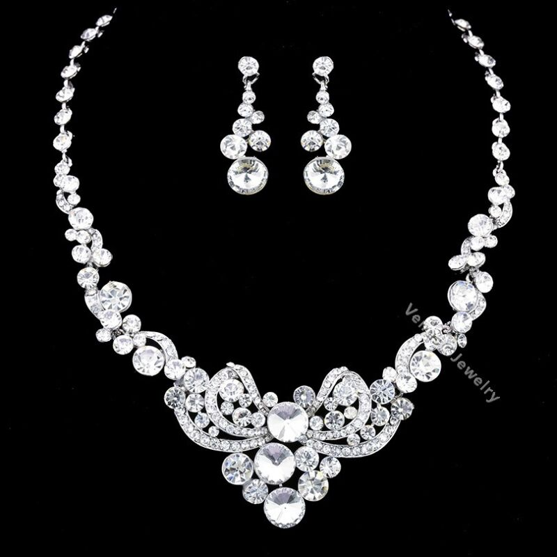 Floral Bridal Wedding Prom Rhinestones Crystal Necklace Earrings Set N333