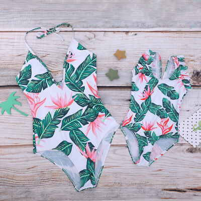 Family Matching Swimwear Mother Daughter Leaf Floral Swimsuit Swimming Costumes