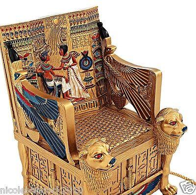 ANCIENT EGYPTIAN KING TUTS GOLDEN THRONE W/ HIDDEN TREASURE BOX INSIDE DECOR