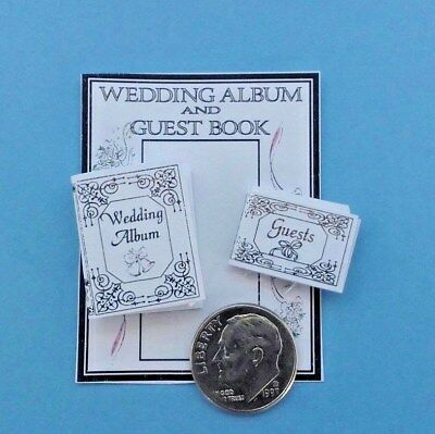 (Dollhouse Miniature Wedding Album & Guest Book Silver Gilt Embossed 1:12 scale.)
