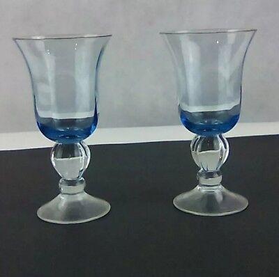 ((2) Clear Stem Light Blue Water Goblet Wine/Drinking Glasses)