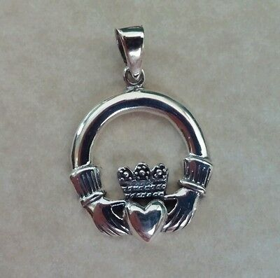 .925 Sterling silver Large Irish Claddagh Pendant with Bail