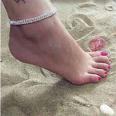 Women Ankle Bracelet Silver Anklet Foot Jewelry Girl's Beach Chain Diamond 2 Row Anklets