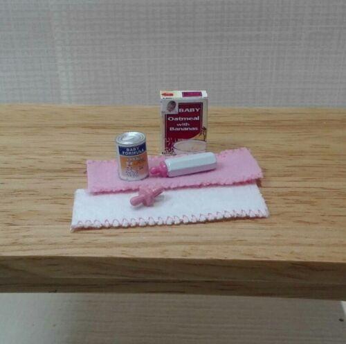 dollhouse miniatures baby formula cereal pink bottle