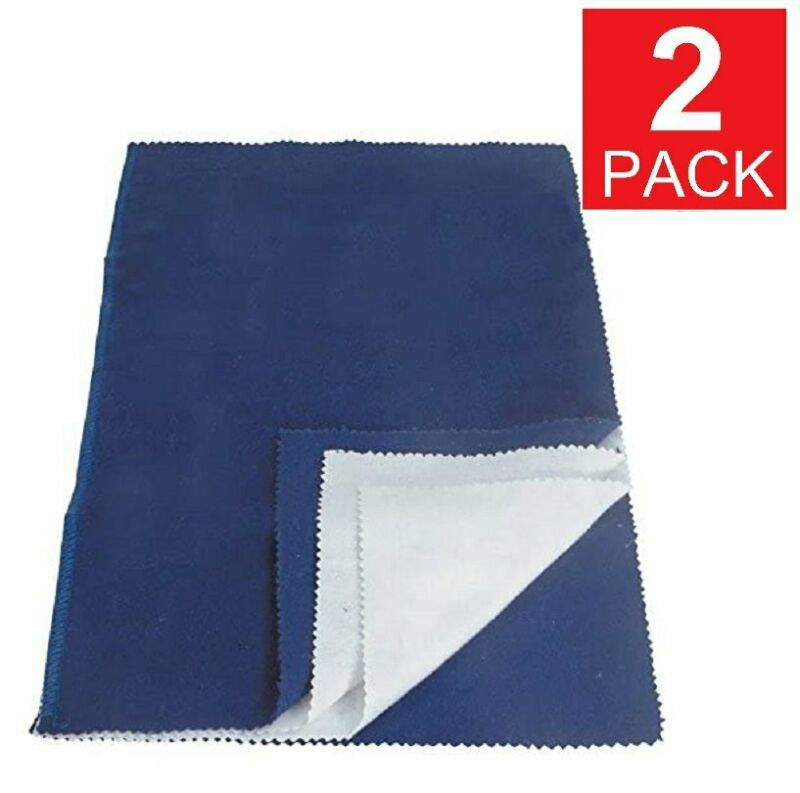 2-Pack Jewelry Cleaning Polishing Cloth Silver Gold Brass Shine Multiple Layer