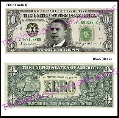 10 LOT-U.S. PAPER MONEY ZERO Obama-Dollar Bill FUNNY Play Bookmark Novelty FUN