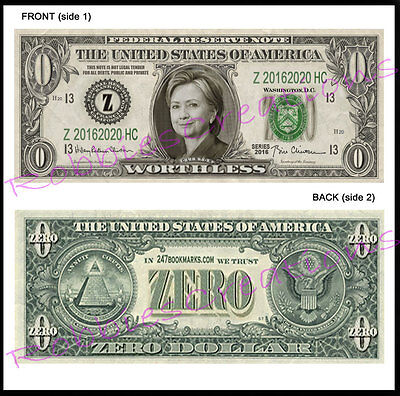 8 LOT-HILLARY CLINTON US MONEY ZERO-Dollar Bill For President Bookmark Novelty