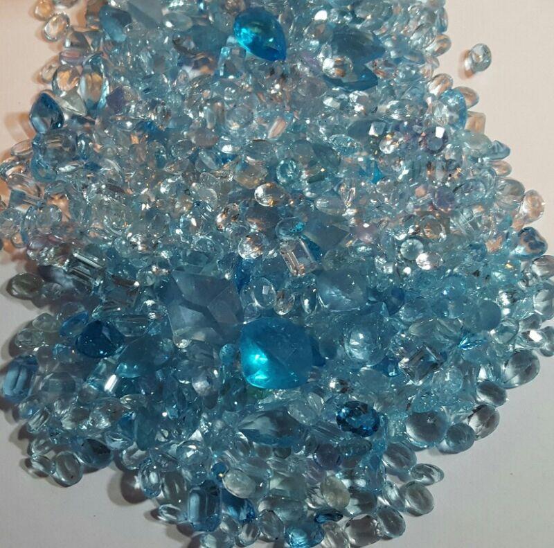 50 CTS Blue Aquamarine Mixed Gemstones Parcel-50 Carat Liquidation Wholesale Lot