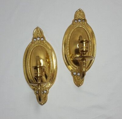 2 SOLID BRASS PAIR SET CANDLE WALL SCONCES ORNATE METAL