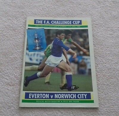 484) Everton v Norwich City  programme fa cup semi final 15-4-1989