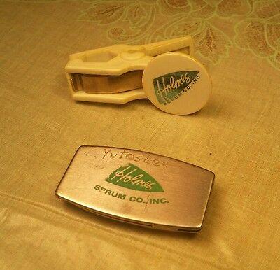 Vintage Advertising Zippo Money Clip Knife Medicine Vet Veterinary Holmes Serum
