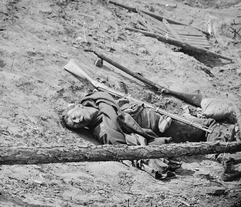 Dead Confederate Soldier with rifle Petersburg,Virginia- 8x10 US Civil War Photo