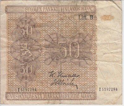 FINLAND BANKNOTE P87-7284 50 MARKKAA 1945, LITT B- PREFIX I, VG
