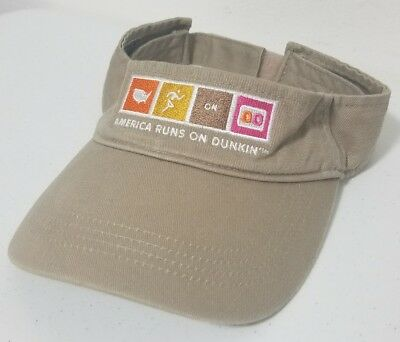 24 DD Dunkin Donuts visor Hat Brown one size fits all adjustable NEW