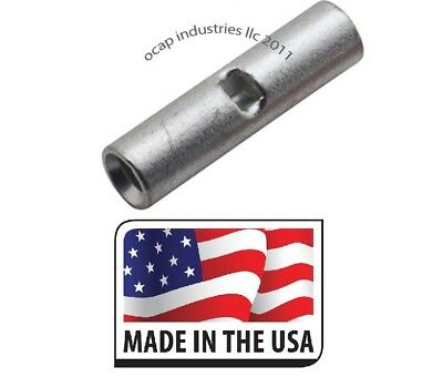 (100) 22-18 NON-INSULATED SEAMLESS BUTT WIRE CONNECTOR UNINSULATED MADE IN USA