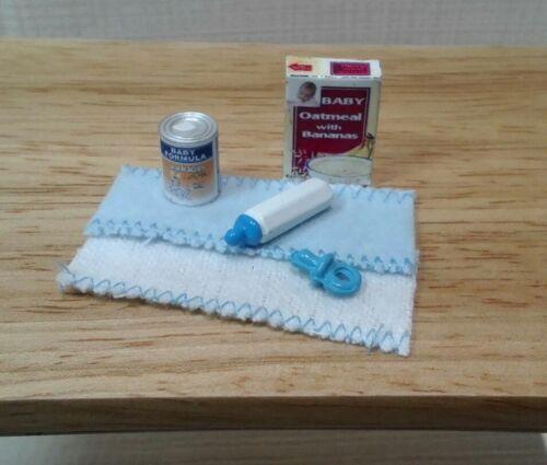 dollhouse miniatures baby formula cereal blue bottle