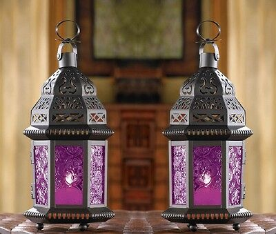 Mulberry Moroccan Candle Lantern 10 1 4  Tall  Set Of 2  Wedding Supplies 15221