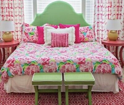 DUVET Lilly Pulitzer HPFI 🌹 HOTTY PINK FIRST IMPRESSION GARNET HILL QUEEN 👑