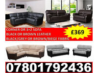 NEW LEATHER/FABRIC CORNER OR 3+2 SOFA BLACK/GREY BROWN/BEIGE 358