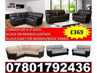 NEW LEATHER/FABRIC CORNER OR 3+2 SOFA BLACK/GREY BROWN/BEIGE 7958