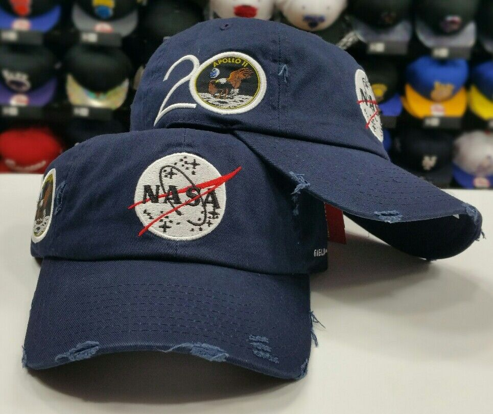 18eb748b2bf NAVY Field Grade Distressed NASA Brand Dad Strapback Snapback Hat