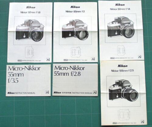 Nikon Nikkor Ai Instruction Manuals: Lof ot 6 Original Normal & Tele