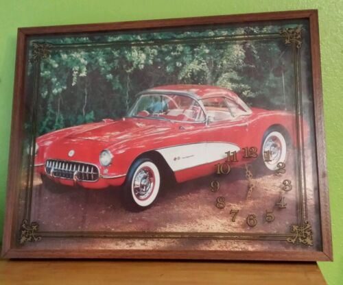 VTG FRAMED CLOCK PICTURE UNDER GLASS CLASSIC RED CORVETTE TESTED WORKS 27X21