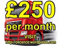 TRANSPORT MANAGER -- CPC HOLDER -- £250 PER MONTH -- HGV O-LICENCE -- TRAILERS TO HIRE