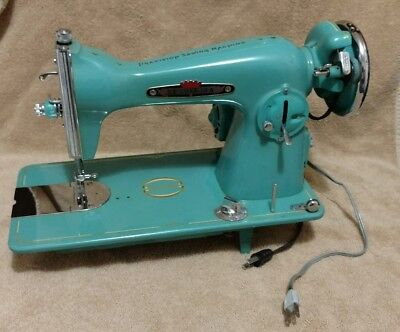 Rare TURQUOISE Tessler New York Super Deluxe Precision Sewing Machine Vintage
