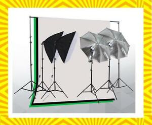 Photo Video Studio Lighting Kit with 2 Umbrella, 2 Softboxes & 3 Backdrop stand Muslin - Free Shipping
