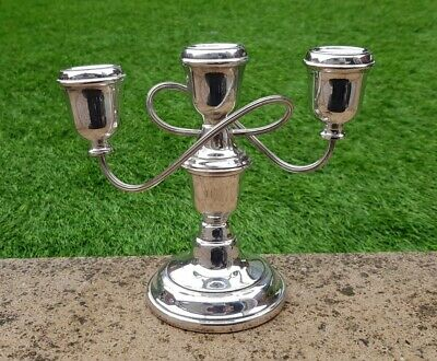 Vintage silver plate triple three candle holder chunky candlestick candelabra