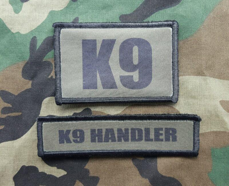 K9 Handler OD Green Patch 2 Piece Set Sheriff SWAT Border Patrol Police