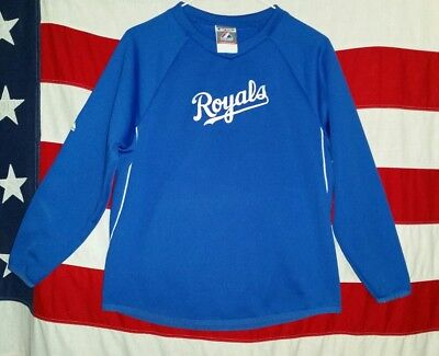 MLB Kansas City large L Youth Royal Blue Therma Base PULLOVER  EUC!! -