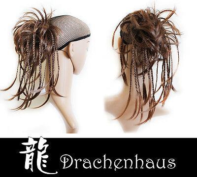 Haarteil Perücke Zopf Haargummi Hochsteckfrisur glatt mit kleinen Zöpfen (Perücke Frisuren)