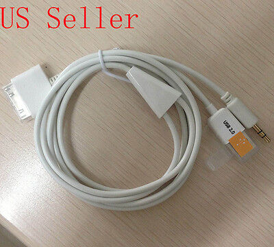 30pin Dock To 3.5mm Car AUX Audio USB charger Cable For iPhone 3G 3GS 4 4S iPod Ipod Car Dock