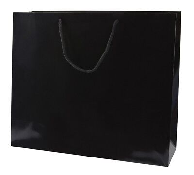 5 BLACK GLOSS BOUTIQUE PAPER CARRIER BAGS WITH ROPE HANDLES (LARGE) 41CM WIDE