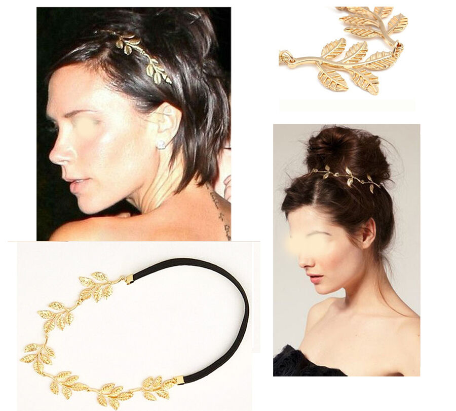 +Haarband Stirnband Blätter Gold Gummi Kopfschmuck Haarschmuck TRENDFRISUREN