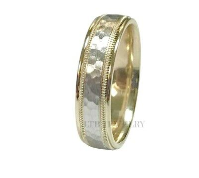 10K TWO TONE GOLD WEDDING BANDS RINGS MILGRAIN HAMMERED FINISH 6MM -