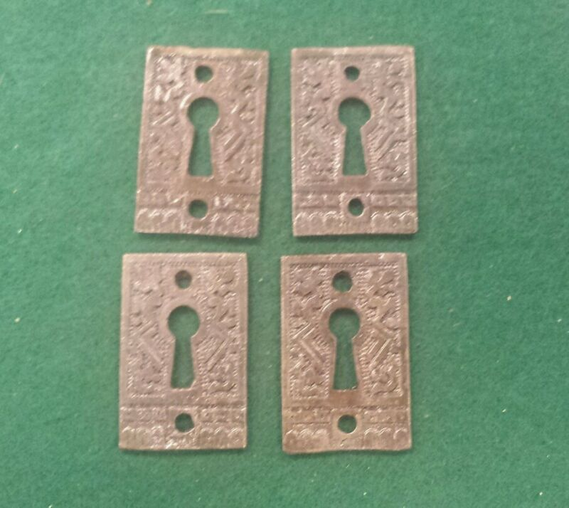 4 Keyhole covers CAST IRON Victorian Style Pattern. Really different.