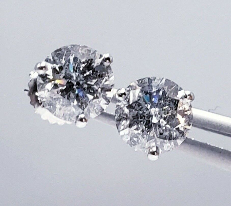 Round Brilliant Natural Diamond Studs Earrings 2.14ctw GIA Appraisal F Color SI3