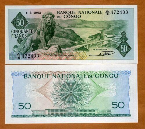 Congo D.R., 50 Francs, 1-3-1962, P-5a, Gem UNC > Majestic lion