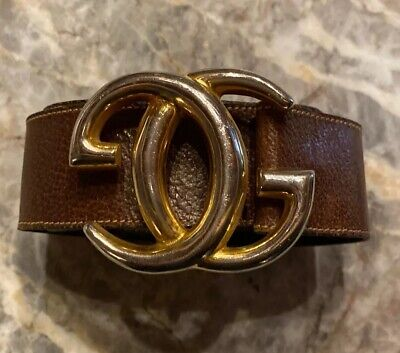 "GUCCI Italy~Vintage Large GG Gold tone Logo Belt buckle Brown Leather 28""-32"""